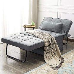 Vonanda Ottoman Folding Chair Bed, Modern Velvet Sleeper Sofa Multi-Position Convertible Couch L ...