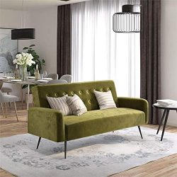 Novogratz Z Stevie, Convertible Sofa Bed Couch, Green Velvet Futon