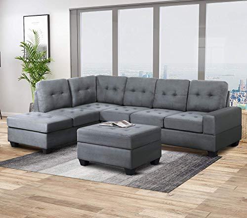Harper & Bright Designs Sofa Sectional 3-Seat with Reversible Chaise Lounge and Storage Otto ...
