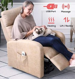 ERGOREAL Power Lift Recliner for Elderly Electric Lift Chairs with Heat and Massage Textured Sue ...