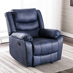 ANJ Recliner Chair with Overstuffed Arm and Back, Breathable Bonded Leather Classic Recliner Sin ...