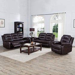 JUNTOSO 3 Pieces Recliner Sofa Sets Bonded Leather Lounge Chair Loveseat Reclining Couch for Liv ...