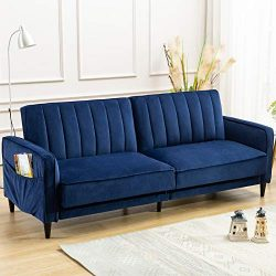 ANJ Convertible Sofa Bed, Modern Tufted Velvet Fabric Futon Sofa Fold Up & Down Recliner Cou ...