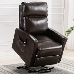 Bonzy Home Faux Leather Lift Chair, 3 Position & Side Pocket, Overstuffed Power Recliner wit ...