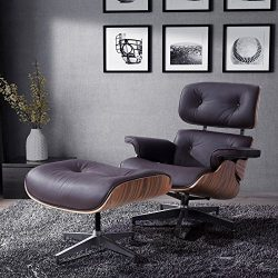 Mecor Lounge Chair with Ottoman, Mid Century Palisander Chair, 100% Grain Italian Leather Chaise ...