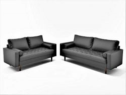Container Furniture Direct Orion Mid Century Modern Faux Leather Upholstered Sofa Loveseat Set w ...