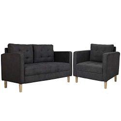 AODAILIHB Modern Fabric Sofa 2 Pieces Set Loveseat and Chair Combination Set Living Room Sofa Co ...