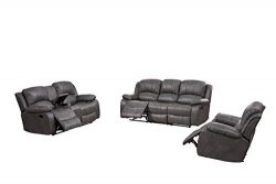 Betsy Furniture Bonded Leather Recliner Set Living Room Set, Sofa Loveseat Chair Pillow Top Back ...