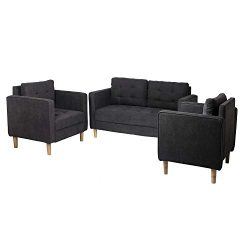 AODAILIHB Modern Fabric Sofa 3 Pieces Set Loveseat and Chair Combination Set Living Room Sofa Co ...