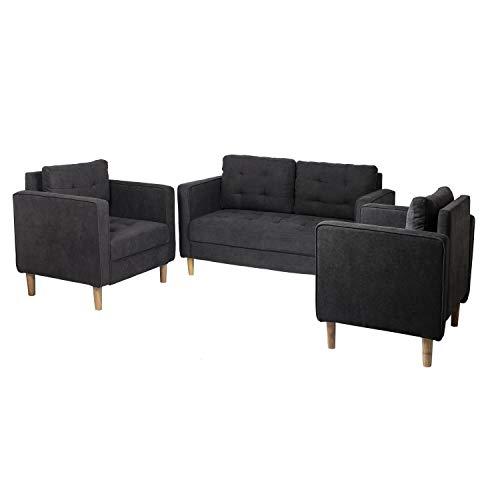 AODAILIHB Modern Fabric Sofa 3 Pieces Set Loveseat and Chair Combination Set Living Room Sofa Co ...