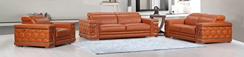 Blackjack Furniture The Usry Collection 3-Piece Genuine Italian Leather Living Room Sofa Set, Camel
