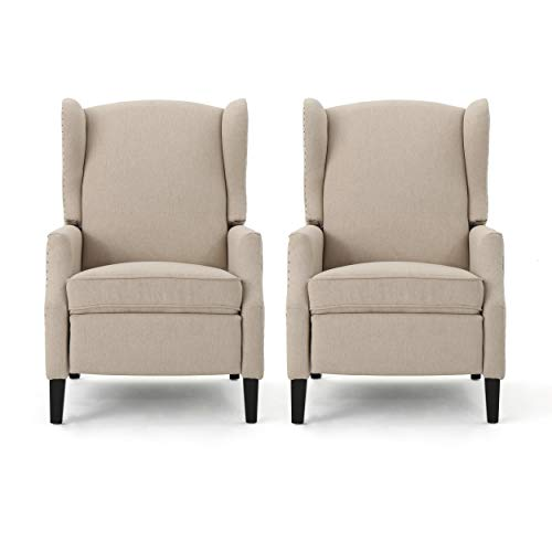Christopher Knight Home 312281 Ellyn Fabric Recliner (Set of 2), Wheat, Dark Brown