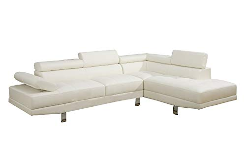 2 Piece Modern Contemporary Faux Leather Sectional Sofa… (White)