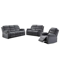 AC Pacific Jim Collection Contemporary 3-Piece Reclining Living Room Upholstered Sofa, Set with  ...