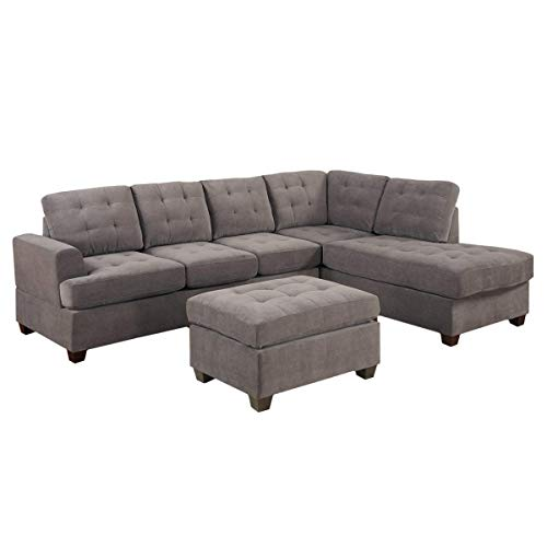 UDKTSOFAS 3pc Modern Reversible Grey Charcoal Sectional Sofa Couch with Chaise and Ottoman