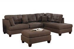 Bobkona Sectional Sofa Set Coffee