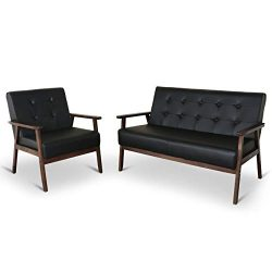 Mid-Century Retro Modern Living Room Furniture Sets with Loveseat Sofa and Chair, Couch and Loun ...