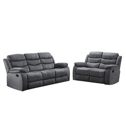Christies Home Living 2-Piece Reclining Living Room Upholstered Sofa, Set with 4, Sofa & Lov ...