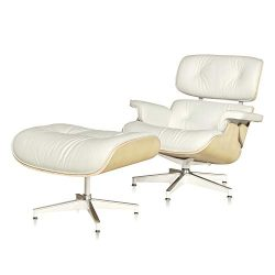 Mid Century Lounge Chair, Chaise Replica Chair with Cream Leather Natural Wood Arm Chair for Liv ...