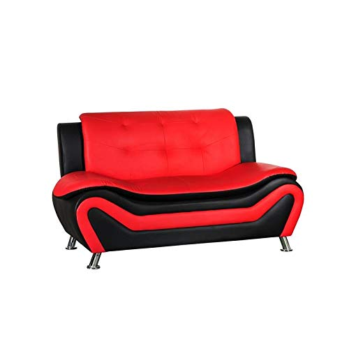 Kingway Furniture Gilan Faux Leather Living Room Loveseat in Black and Red