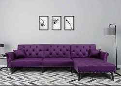 Romatlink L Shape Bed Sectional Sofa Chaise Button Tufted Couch with 2 Pillows, Nailhead Trim Si ...