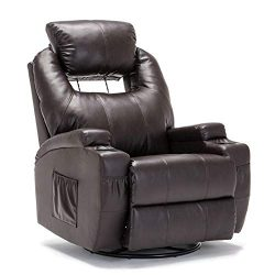 SUNCOO Recliner Chair, Ergonomic Full Body Massage Chairs, 360 Degrees Swivel Heated Leather Rec ...