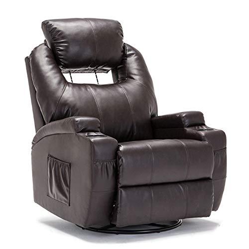 SUNCOO Recliner Chair, Ergonomic Full Body Massage Chairs, 360 Degrees Swivel Heated Leather Rec ...