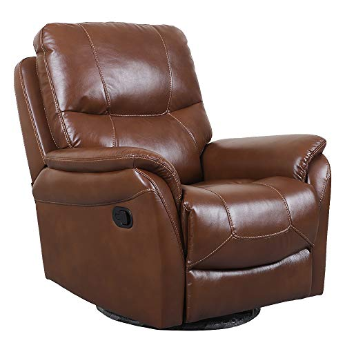 Irene House 360 Degree Upholstered Swivel Glider Rocker Recliner Chair with Breath Leather,so So ...