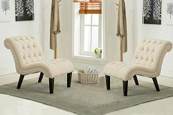 Haobo Armless Accent Chairs with Button Tufted for Living Room or Reception Room (Set of 2) Livi ...
