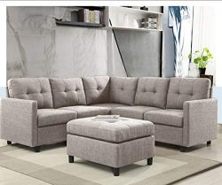 6-Piece L-Shape Modular Sectional Sofa Assemble, Left & Right Arm Chair, Armless Chair and O ...
