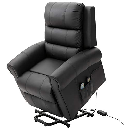 HOMCOM Heated Vibrating Massage Recliner Power Lift Chair with Remote, Black Faux Leather