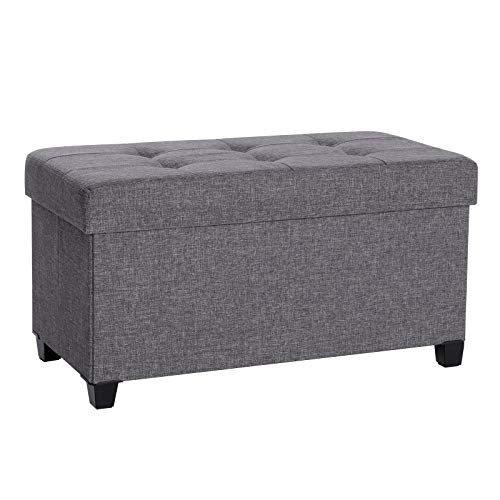 SONGMICS Storage Ottoman, Padded Foldable Bench, Chest with Lid, Solid Wood Feet, Space-Saving,  ...