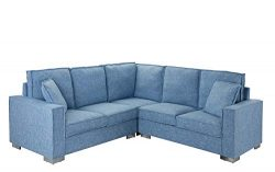 Modern Living Room Linen Fabric Sectional Sofa, L Shape Couch (Light Blue)