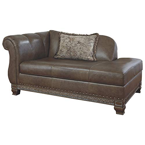 Signature Design by Ashley – Malacara Faux Leather Left Arm Facing Corner Chaise, Quarry