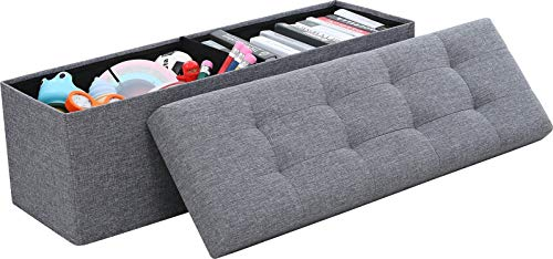 Ornavo Home Foldable Tufted Linen Large Storage Ottoman Bench Foot Rest Stool/Seat – 15 ...