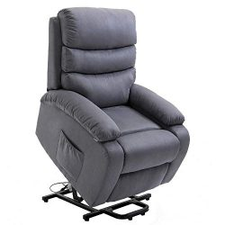 Homegear 2-Remote Microfiber Power Lift Electric Recliner Chair with Massage, Heat and Vibration ...