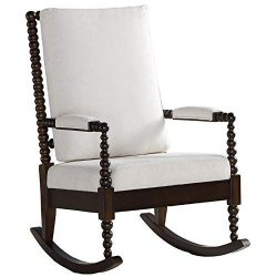 ACME Tristin Rocking Chair – – Cream Fabric & Walnut