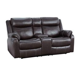 Homelegance 9990 Yerba 70″ Microfiber Double Reclining Loveseat W, Dark Brown