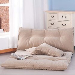 Floor Sofa Bed Foldable Sleeper Bed 5-Position Reclining Futon Sofa Lazy Sofa Couches with 2 Pil ...