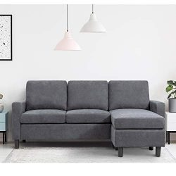 Walsunny Convertible Sectional Sofa Couch with Reversible Chaise, L-Shaped Couch with Modern Lin ...