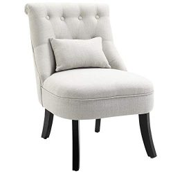 HOMCOM Accent Chair with Upholstered Fabric, Solid Wood Legs and Pillow, Perfect for The Living  ...