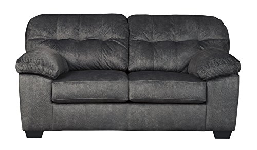 Signature Design by Ashley – Accrington Contemporary Upholstered Loveseat, Granite Gray