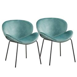 GreenForest Velvet Accent Chair Modern Large Fabric Shell Shaped Leisure Chair for Living Room B ...