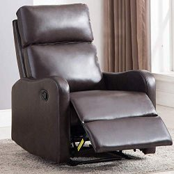 ANJ Chair Contemporary Leather Recliner Chair for Modern Living Room Classic Brown-R6275