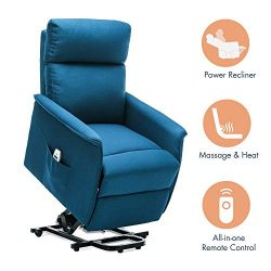 Orimoster Power Lift Recliner Chair with Massage and Heat for Seniors Blue, Ergonomic Electric S ...