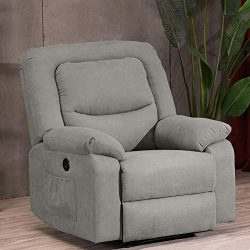 Power Recliner Chair with Heat and Massage, Electric Recliner Chairs Sofa with USB Charge Port f ...