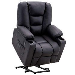 Mcombo Electric Power Lift Recliner Chair Sofa with Vibration Massage and Heat for Elderly, 3 Po ...