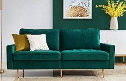 Modern Velvet Fabric Sofa Loveseat 71″ L x 31.5″ W x 31.5″ H with 2 Decorative ...
