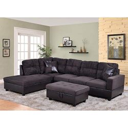 Golden Coast Furniture 3-Piece Microfiber Leather Sofa Sectional with Ottoman Storage Espresso