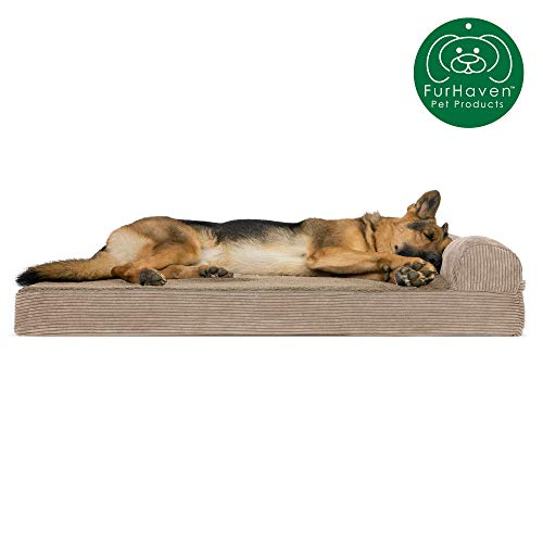 Furhaven Pet Dog Bed | Deluxe Orthopedic Faux Fleece & Corduroy Chaise Lounge Living Room Co ...